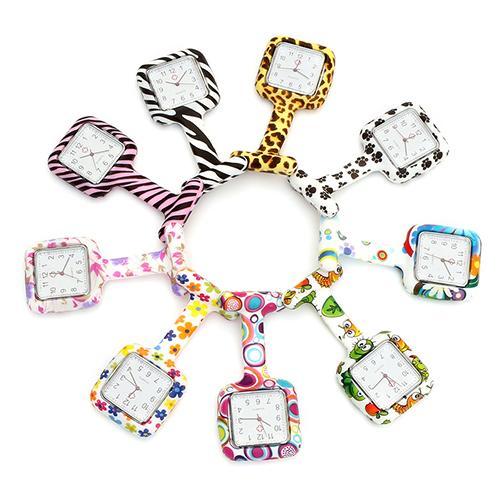 Multicolor Pattern Silicone Nurse Watch Brooch Tunic Fob Watch With Free Battery Doctor Medical Reloj De Bolsillo Pocket Watch