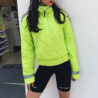 Women Neon Green Padding Jacket Coat 2019 Fashion Female Winter Oversized Reflective Cropped Hoodies Casual Outwear Plus Size