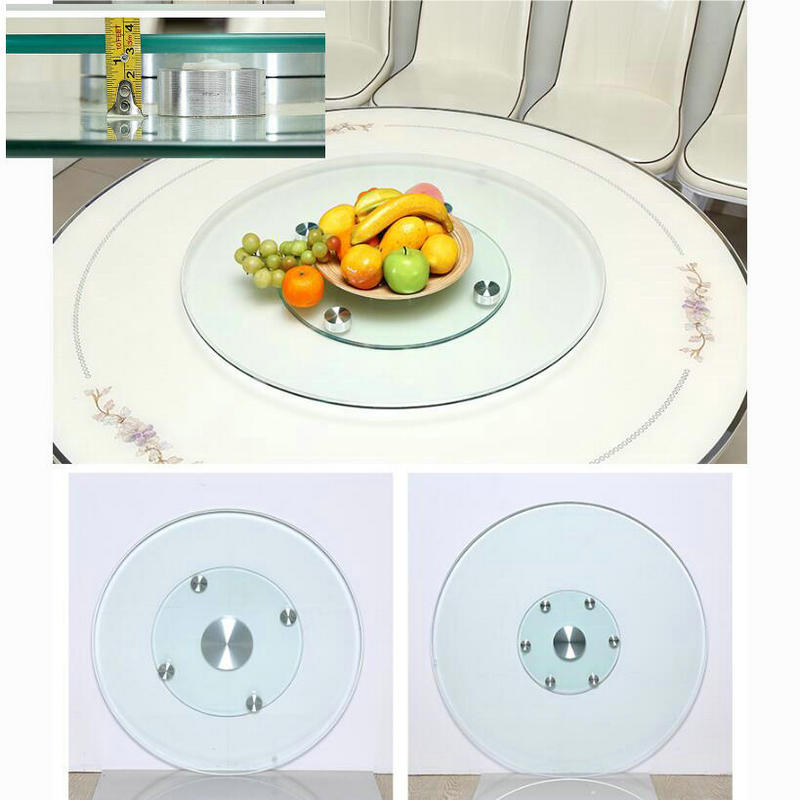 HQ GL01 More Stable Double Layer Tempered Glass Lazy Susan Glass Turntable Dining Table Top  Swivel Plate With Assistant Castors