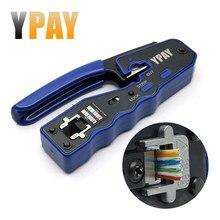 Ypay ez rj45 ferramentas de rede crimper alicates cat5 cat6 8p rg rj 45 ethernet cabo stripper prensagem fio braçadeira pinças clipe rg45 lan