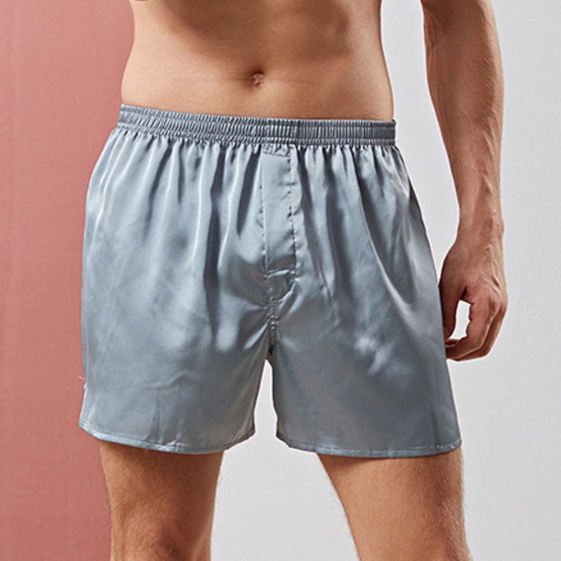 Household Shorts Men's Fashion Solid Color Loose Satin Shorts New Luxury Silk Loungewear Soft Comfortable Pajama Shorts For Male