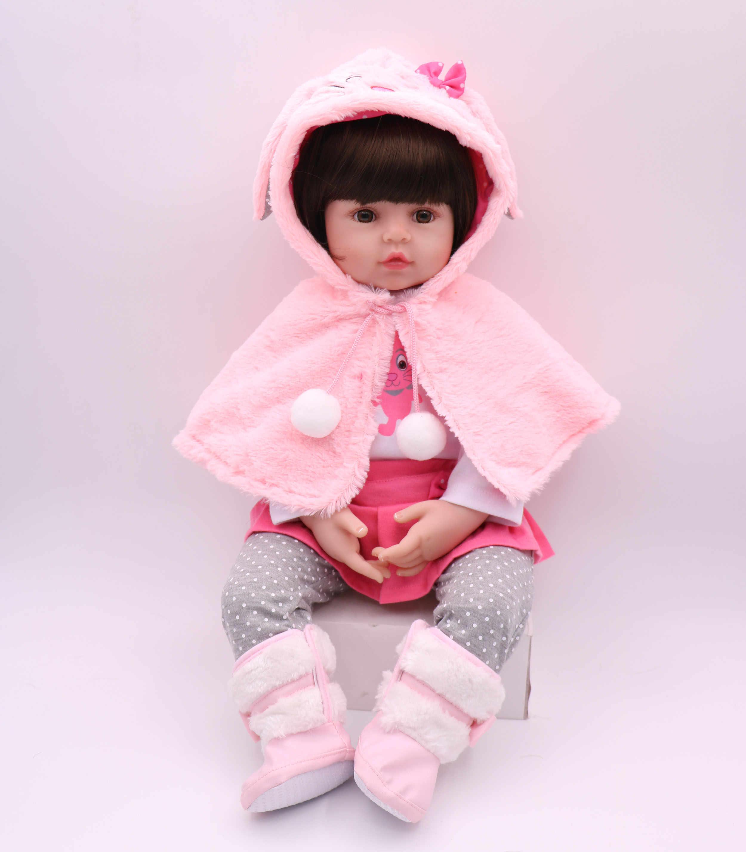 42/58cm silicone macio bebe reborn boneca realista bonito rosa coelho bebê menina bonito bonecas bebe reborn lol boneca melhor presente das crianças