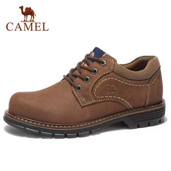 CAMEL Men's Shoes Cowhide Casual Scrub Retro Matte Genuine Leather Set Foot Sailing Shoes Men Comfortable Bottom Male Footwear