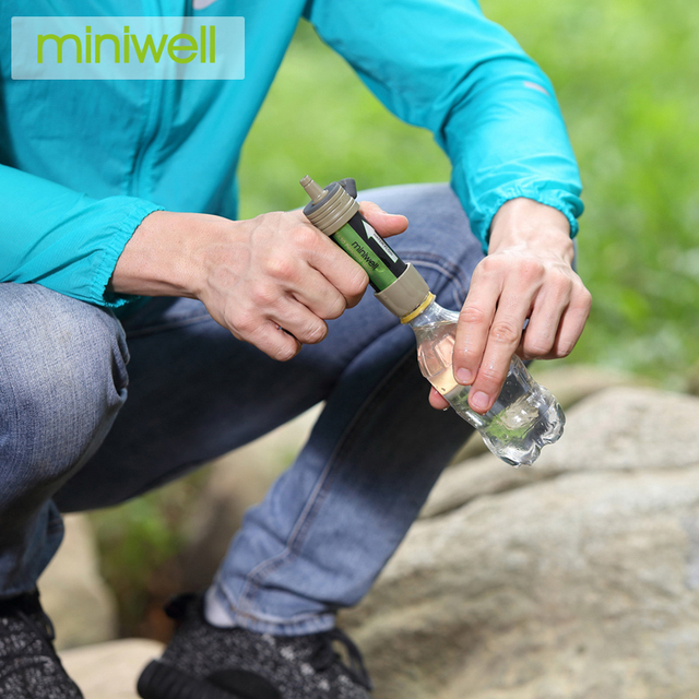 miniwell saving water resource  Water Filter with  foldable water bag for hiking and travelling