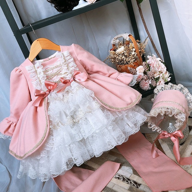 2PCS ילדה חורף צמר ורוד ארוך שרוול בציר ספרדית לוליטה נסיכת כדור שמלת שמלה עם מכנסיים ילדה יום הולדת חג המולד מזדמן