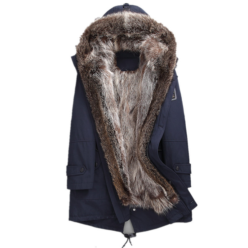 Real Fur Coat Winter Jacket Men Natural Raccoon Fur Parka Men Long Coats Warm Parkas Plus Size 4xl Manteau F-MSMD-01 MY1829