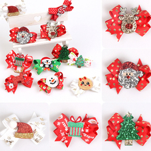 Novelty Christmas Hair Clips Christmas Alligator Clip Headwear Hair Accessories Girl Kids Holiday Party Decoration Bow Barrette