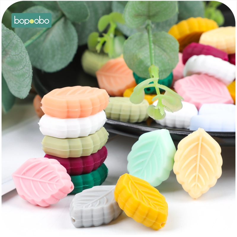 Bopoobo 5pc Silicone Beads Leaf Tiny Rod BPA Free Silicone Teethers Baby Toys Silicon Beads DIY Baby Teething Silicone Rodent