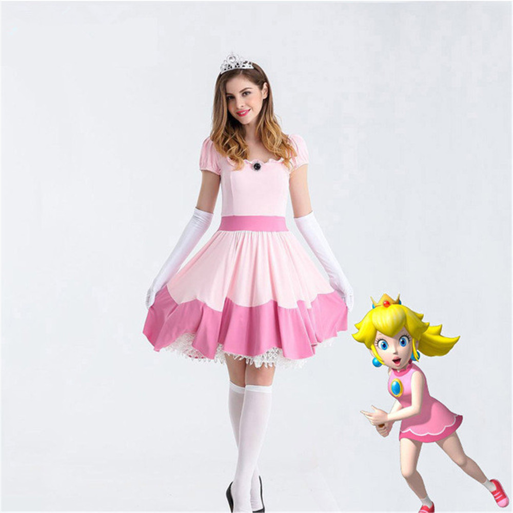 New Deluxe Adult Princess Peach Costume Women Princess Peach Super Mario Bros Party Cosplay Costumes Halloween Costumes