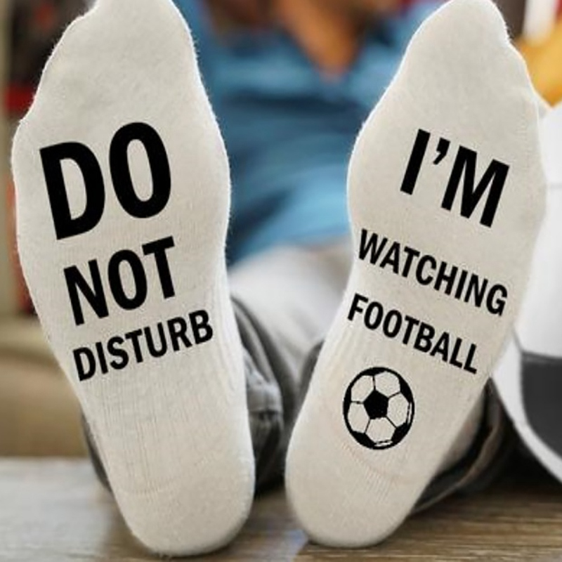 "Novelty Socks ""Do Not Disturb I\'m Watching Football\"" Socks Soft Cotton Casual Print Letter Socks Men Sportswear Accessorie"