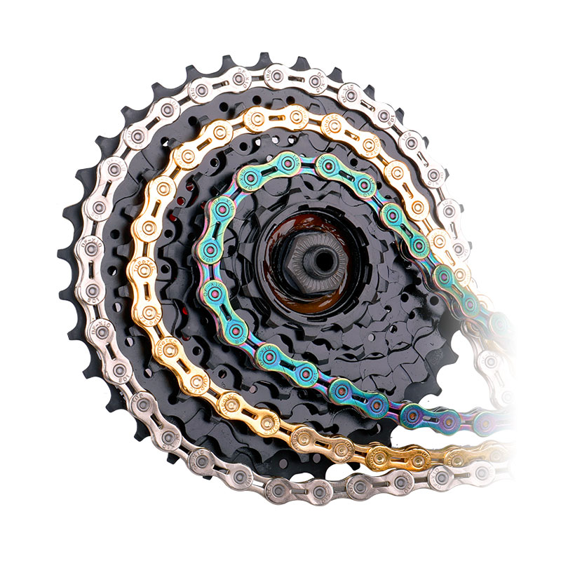 Deemount Bicycle Chain 9/10/11 Speed With Connector Master Links Hollow Mtb Bike Chain Gold Radiant Optional Plier