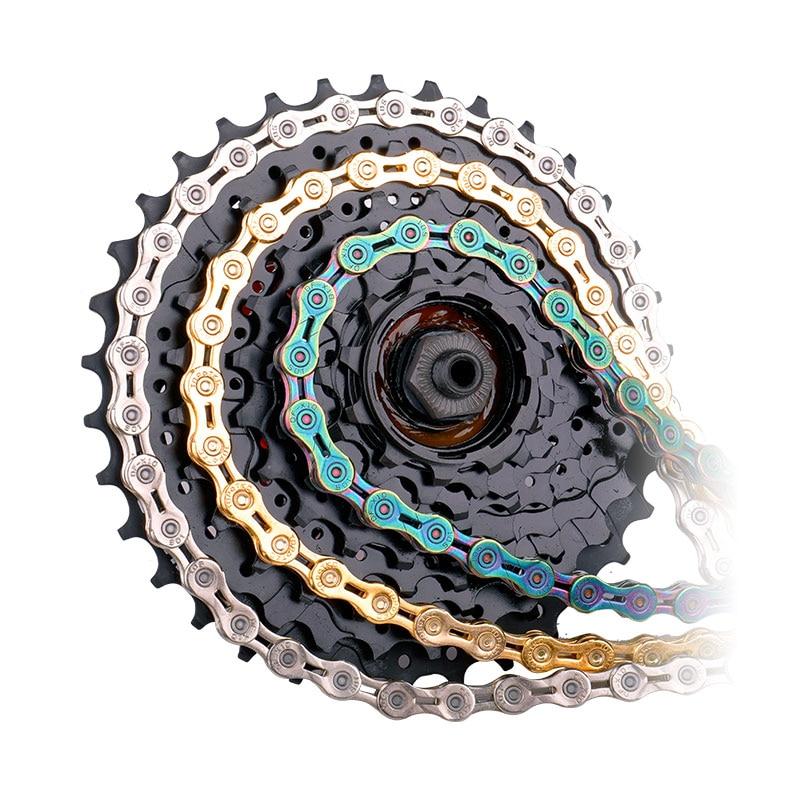 Велосипедная цепь Deemount 9/10/11 скорость с разъемом Master links полые Mtb велосипедная цепь золотистого цвета на выбор плоскогубцы