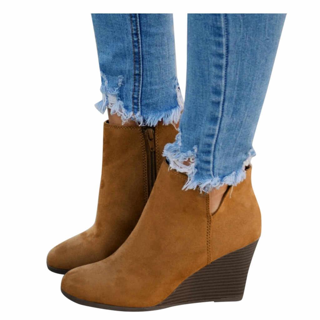 Jaycosin Thời Trang Nữ Nêm Springautumn Dây Kéo Chắc Chắn 3 Màu Ngắn Boot Nữ Roundtoe Giày Thoải Mái Nữ Giày 35-43