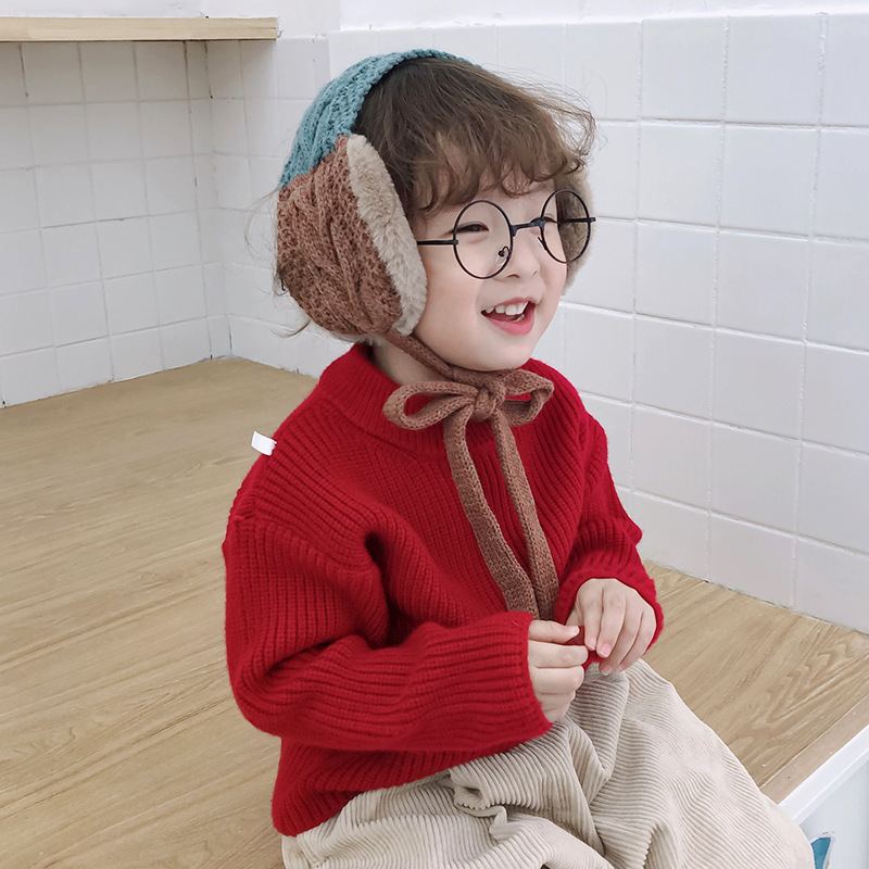 Child Cute Earmuffs Scarf Korean Style Stitched Color Knitted Autumn Winter Warm Windproof Sweet High Quality Frenulum Earmuffs