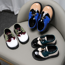 Toddler Shoes Girls Breathable Kids Children's British Rubber Pu Sneakers Pu-Patchwork