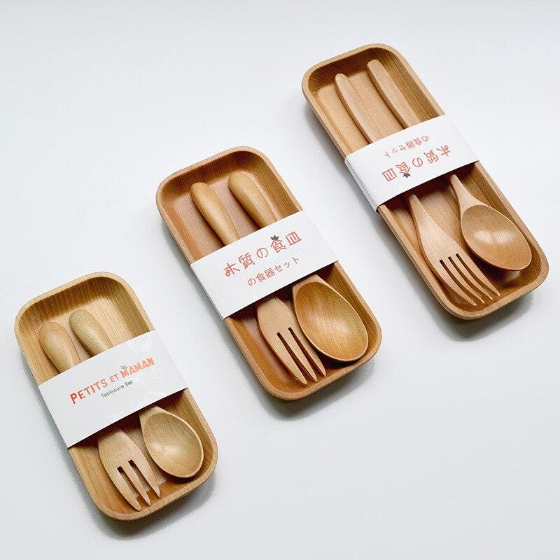 Голландская деревянная детская ложка и вилка, набор посуды, эко-посуда для обеда, обеденный стол, школьный дорожный стол,