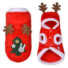 Cute Pet Dog Teddy Hooded Antlers Warm Plush Coat Red Elk Christmas Dress Party Clothing Autumn And Winter Pet Clothing