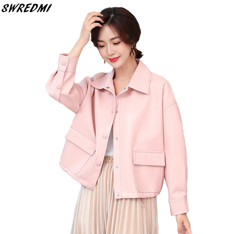 SWREDMI New Fashion Jackets   Leather   Coat Women Loose Drawstring   Leather   Clothing Sweet Pink Female Jacket Office Lady   Suede   Tops