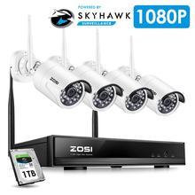 ZOSI 1080P HD bezprzewodowy dostęp do internetu bezprzewodowa kamera do monitoringu System 4CH 1080P HDMI zestaw monitoringu NVR 4 sztuk HD 1.3MP wewnątrz/nadzór zewnętrzny kamery IP