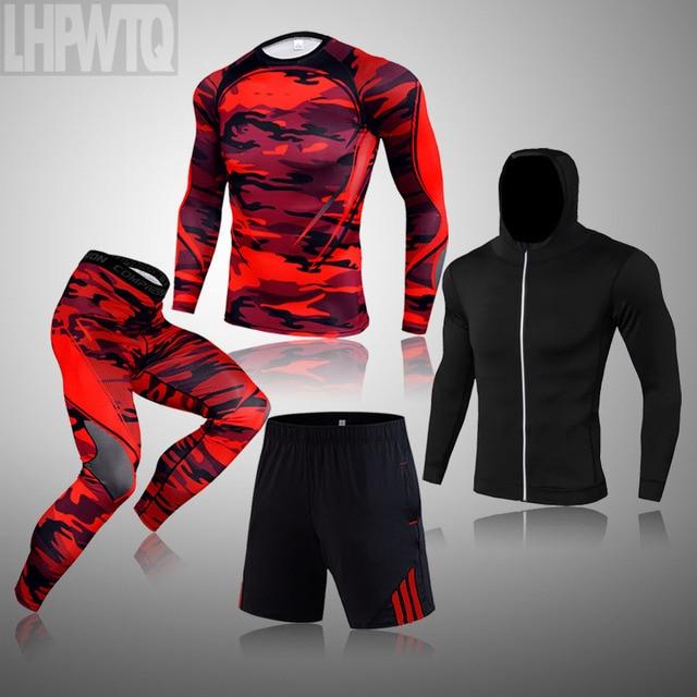 Men Thermal Underwear Winter Long Johns 4 Piece Sports Suit Men's Compression Leggings Quick Dry T-shirt Long Sleeve Jogging Set 5