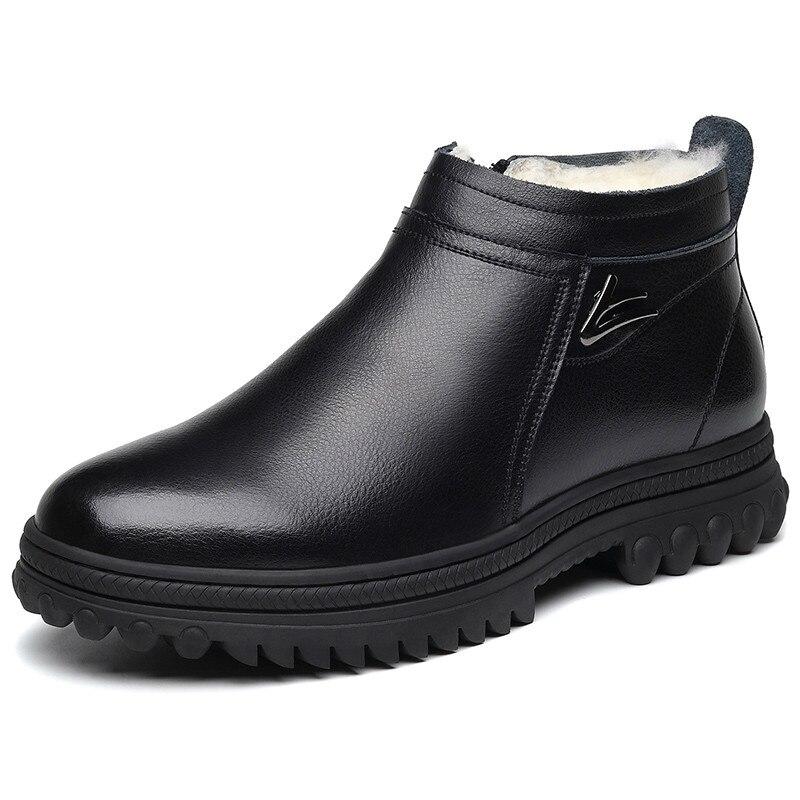 ผู้ชายสไตล์บุรุษสไตล์อังกฤษธุรกิจชุดแต่งงานอย่างเป็นทางการวัวหนังฤดูหนาว WARM Snow รองเท้าบูท...