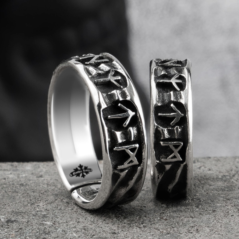 Handmade Original S925 Sterling Silver Vikings Ring With Rune And Wood Box As Gift For Men Or Women