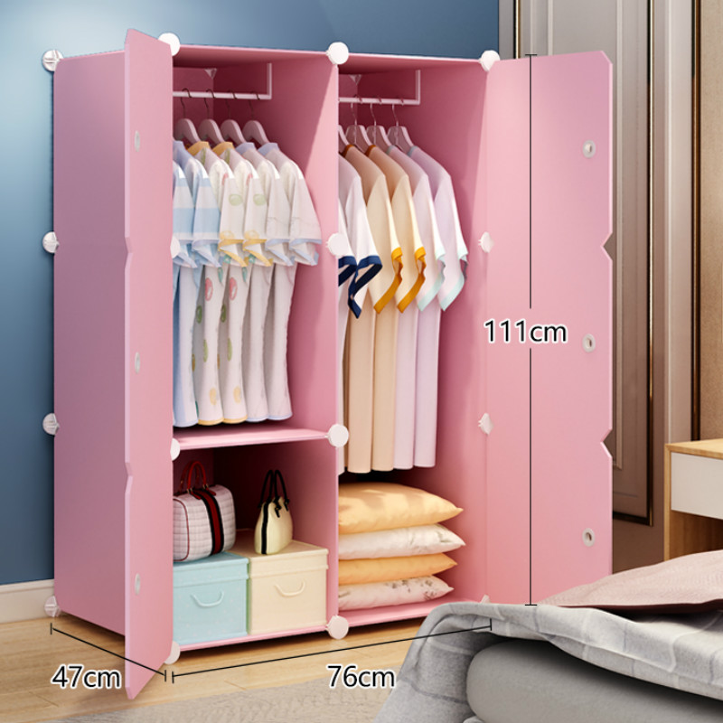 Simple Wardrobe Collection Cabinet Bedroom Rental Storage Removable Imitation Wood Plastic Cloth Wardrobe
