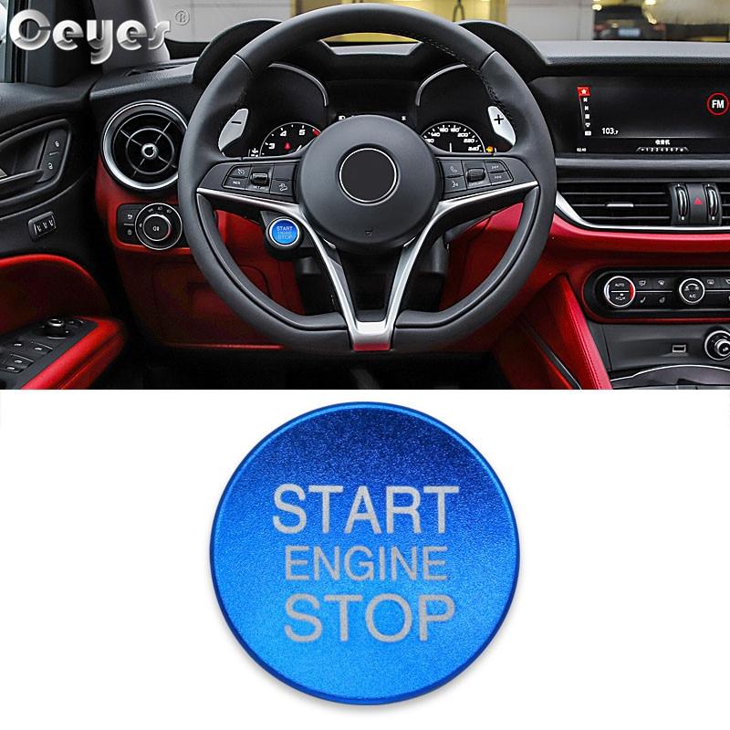 Ceyes, автомобильный стиль, зажигание, пусковое кольцо, кнопка остановки двигателя, аксессуары для интерьера, чехол для Alfa Romeo Mito 147 156, Giulietta, наклейка - Цвет: Button Cover Blue