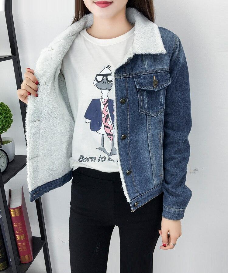 Женская куртка из овечьей шерсти теплая джинсовая с 4 карманами
