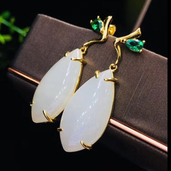 Fine Jewelry 925 Sterling Silver Hetian White Jade Inaly Earrings For Charms Women Jewelry Christmas Gift