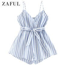 цена на ZAFUL Women Striped Belted Cami Loose Romper Spaghetti Strap Sleeveless Romper Sexy Ladies Romper Summer Vacation 2020