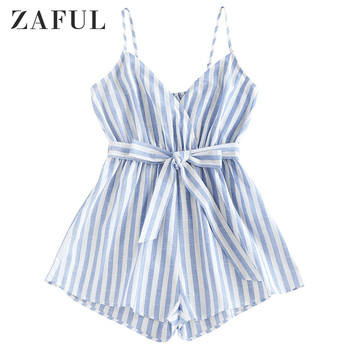 ZAFUL Women Striped Belted Cami Loose Romper Spaghetti Strap Sleeveless Romper Sexy Ladies Romper Summer Vacation 2020 фото