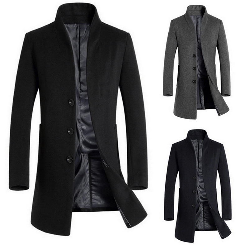 LITTHING 2020 Men Spring Blend Coats Stand Collar Jackets Classic Male Outwears Solid Breasted Men Long Blend Jacket Overcoats