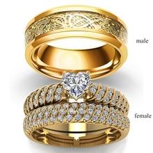 Par de anillos joyería Vintage dragón de acero inoxidable anillo de hombre corazón romántico Zircon anillo conjunto de regalo de compromiso nupcial