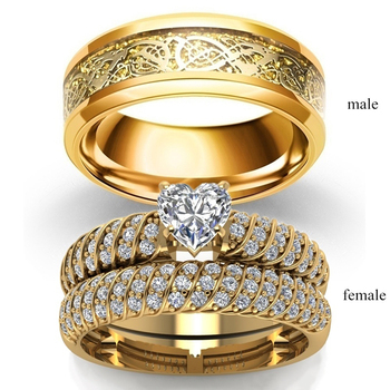 Fashion Jewelry Couple Rings Vintage Dragon Stainless Steel Men Ring Romantic Heart Zircon Ring Set Bridal Engagement Gift