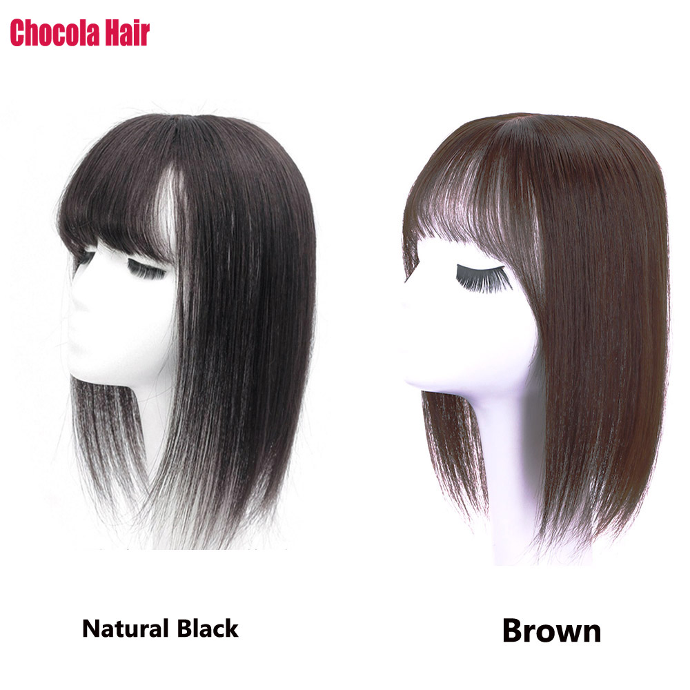 Hair-Wig Topper Bang Natural-Hair 12--Machine-Made Clip-In Toupee Chocola Lace 13--13