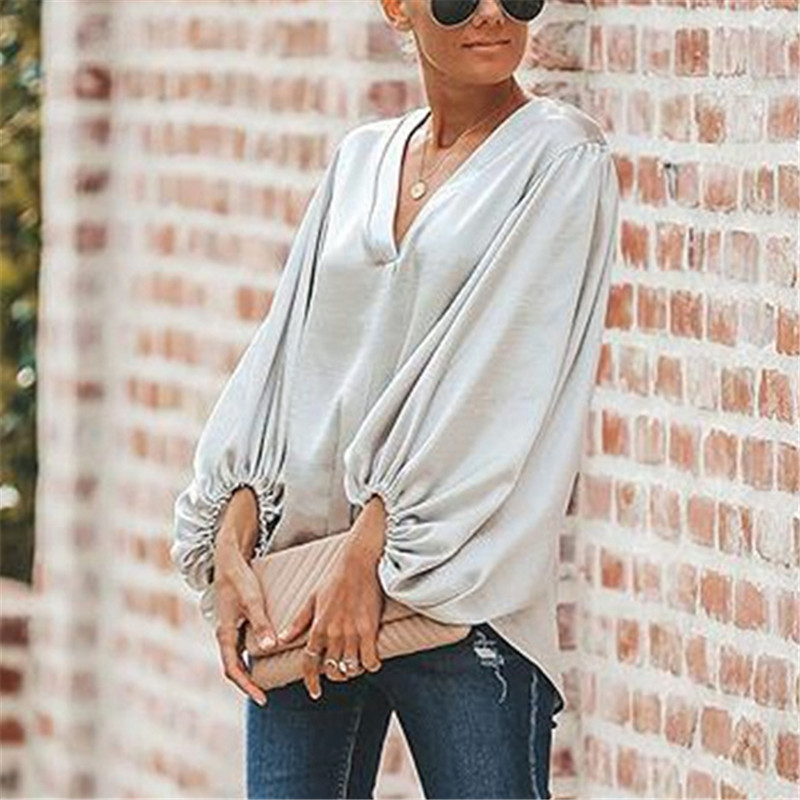 Elegant Office Womens Tops and Blouses Lantern Sleeve V Neck OL Work Women Blouses 2019 Long Sleeve Streetwear Solid Tees Top in Blouses amp Shirts from Women 39 s Clothing