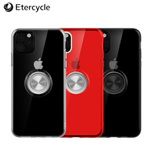 Mobile phone case For iphone 11 Pro Max transparent ring bracket tpu soft shell metal protection sheath black red