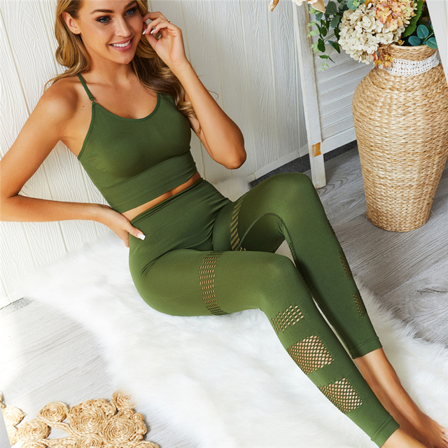 Baumwolle Set Frauen 2 Stück Mesh Sling Crop Top + Leggings
