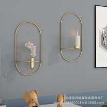 Simple living room TV cabinet black gold Iron geometric Candlestick ornaments fashion restaurant creative metal crafts(China)