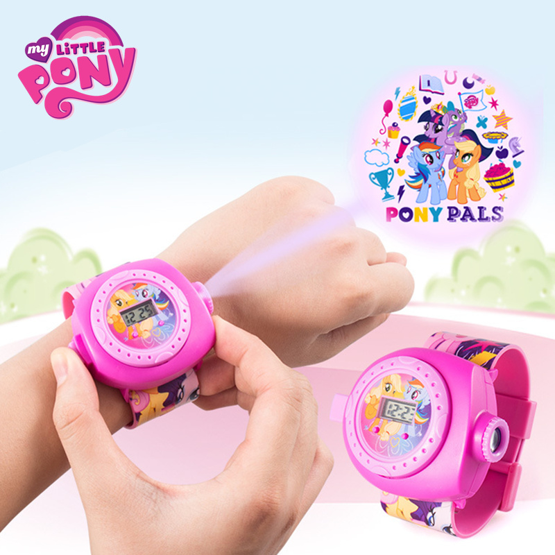 Original My Little Pony Cartoon 3D Projection Watch Toys Rainbow Unicorn Pony Anime Model Toy Children Christmas Gift 2M23