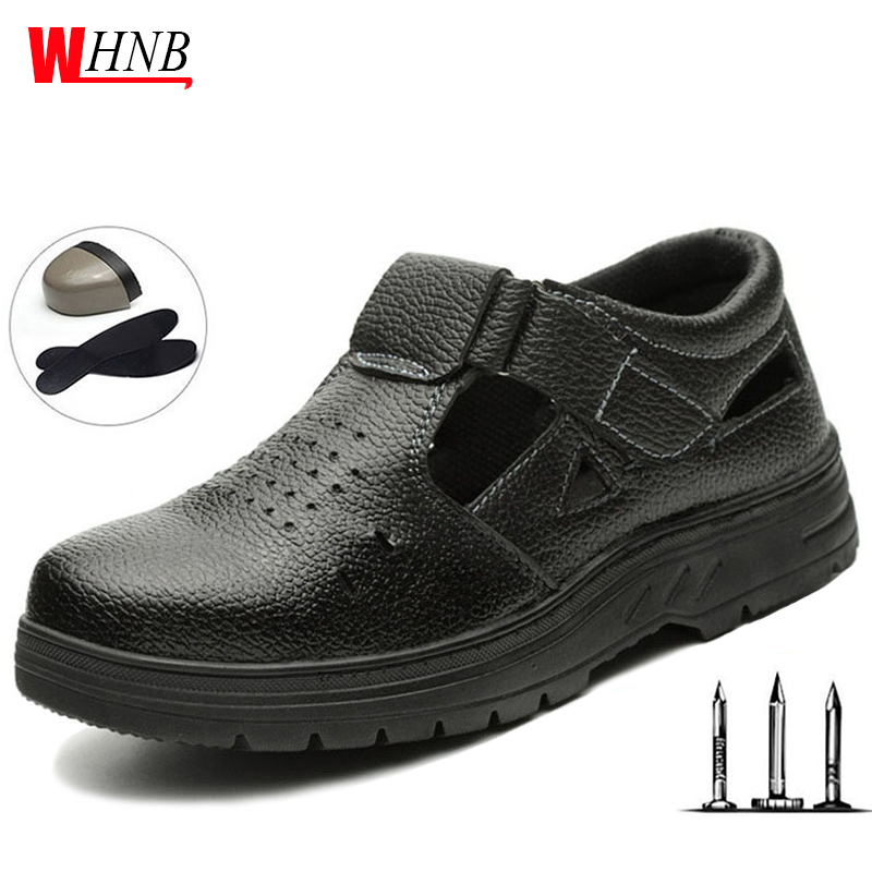 Men Breathable Safety Shoes Men Thin Section Summer Anti-puncture Anti-puncture Work Sandals Breathable Women Safety Shoes Botas