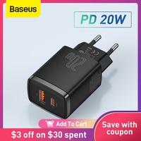 Baseus-cargador USB de 20W, compatible con tipo C, PD, carga rápida, puerto USB Dual, cargador de teléfono portátil para iPhone 12 Pro Max 11 Mini 8 Plus
