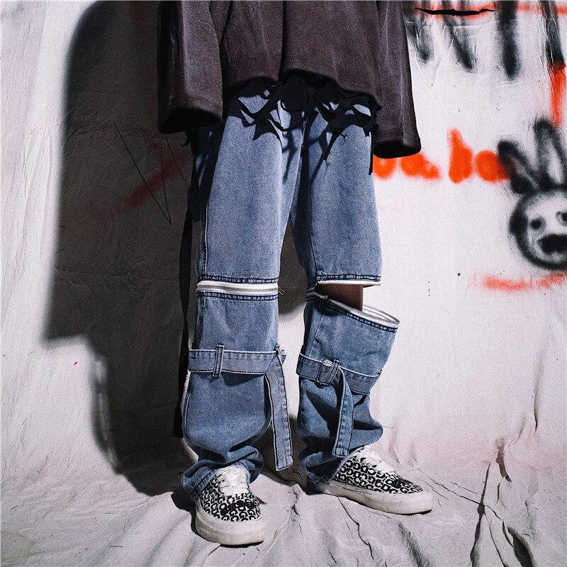Men Removable Zip Pants Casual Denim Straight Pant Male Streetwear Hip Hop Vintage Fashion Loose Wide Leg Jeans Trousers