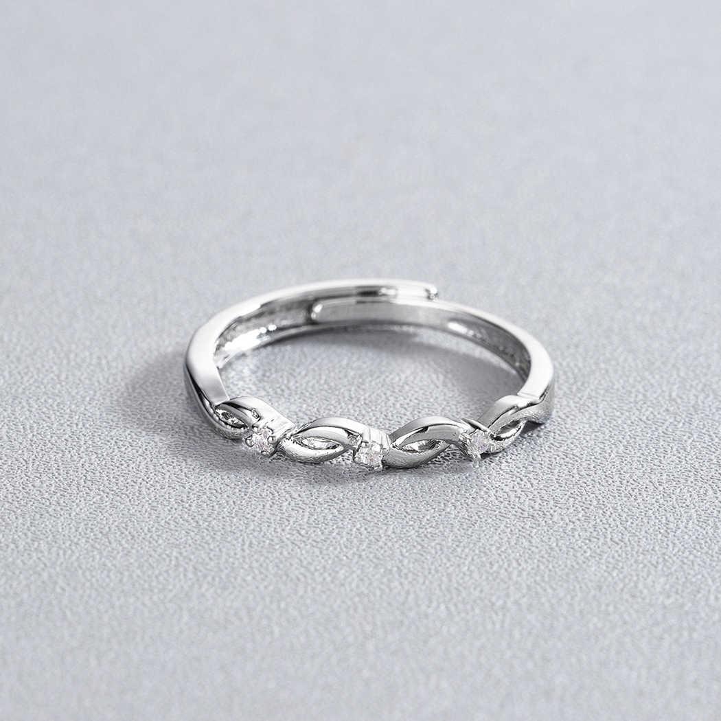 Cxwind חדש מעוקב Zirconia אינפיניטי סמל טבעת CZ לנצח אינסופי אהבת הבטחת נד טבעת נצח ידידות לנשים בנות