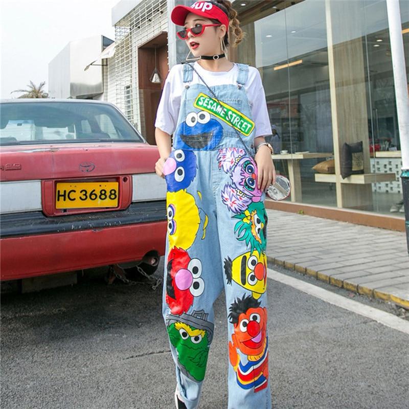 Summer Cartoon Denim Overalls Hip Hop Streetwear Graffiti Print Jean Jumpsuits Wide Leg Jean Pants For Women Loose Rompers