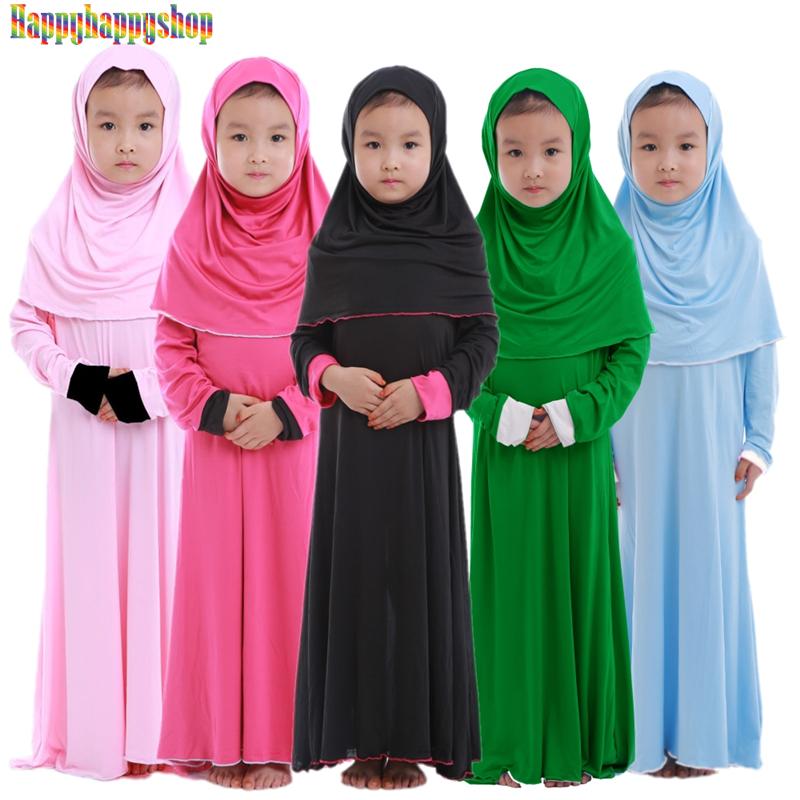Muslim Children Girls Prayer Dress 2 Pieces Hijab Abaya Ramadan Sets Arab Kids Jilbab Headscarf Long Robe Islamic Party Gown