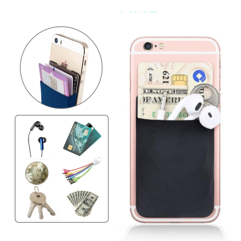 2019 Fashion Elastic Lycra Adhesive Cell Phone ID Credit Card Holder Women Sticker Pocket Wallet Case Card Holder #C