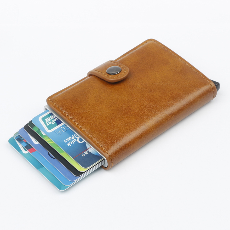 NEW RFID Automatic Wallet Credit Card Holder Case Aluminum Alloy Anti-Degaussing Anti-Theft RFID Bank Credit Card