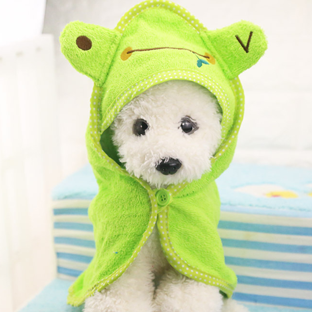 Cute Pet Dog Cat Towel Pets Drying Bath Towels with Hoodies Warm Blanket Soft Drying Cartoon Puppy Super Absorbent Bathrobes 10